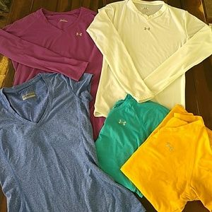 Lot of 5 Under Armour Workout Running Tops